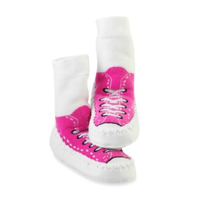 Sock Ons® Mocc Ons® Size 6-12M Sneaker Slipper Socks in Fuchsia