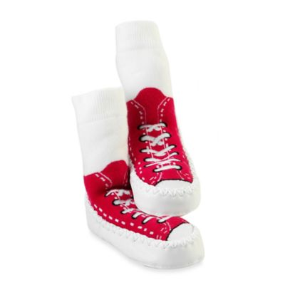 Sock Ons® Mocc Ons® Size 6-12M Red Sneaker Slipper Socks