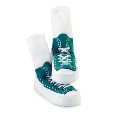 Sock Ons® Mocc Ons® Size 6-12M Turquoise Sneaker Slipper Socks