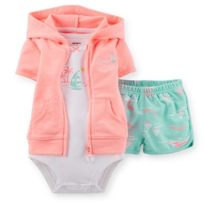 Carter's® Sailboat Size 3M 3-Piece Short Sleeve French Terry Hoodie, Bodysuit, and Short Set
