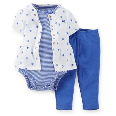 Carter's® Newborn 3-Piece Short Sleeve Peplum Cardigan, Bodysuit, and Pant Set in White/Blue