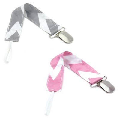Bumkins® Chevron Pacifier Clip in Grey/White