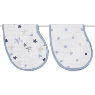 aden + anais® 2-Pack Rock Star Muslin Burpy Bib in Blue