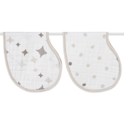 aden + anais® 2-Pack Shine On Muslin Burpy Bib in Beige