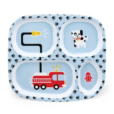 Bumkins® Fire Engine Melamine Divided Plate in Blue