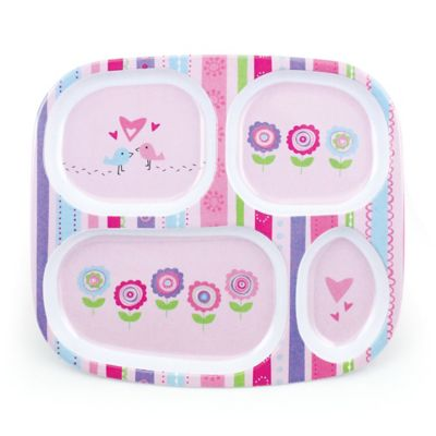 Bumkins® Lovebirds in Bloom Melamine Divided Plate in Pink/Multi