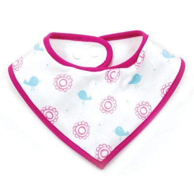 Bumkins® Lovebirds in Bloom Bandana Bib in White/Fuchsia