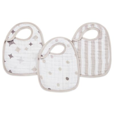 aden + anais® 3-Pack Shine On Classic Muslin Snap Bib in Beige