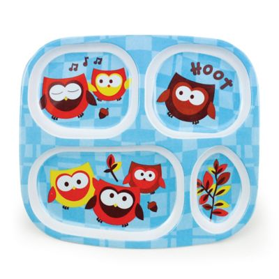 "Bumkins® ""Hoot"" Owl Melamine Divided Plate in Blue"