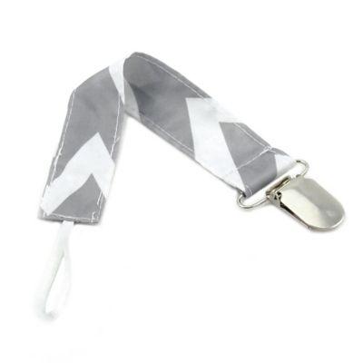 Bumkins® Chevron Pacifier Clip in Grey/White