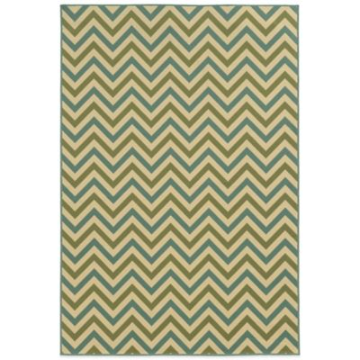 Oriental Weavers Riviera Chevron 8-Foot 6-Inch x 13-Foot Indoor/Outdoor Rug in Green/Blue