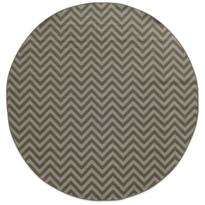 Oriental Weavers Riviera Chevron 7-Foot 10-Inch Round Indoor/Outdoor Rug in Grey
