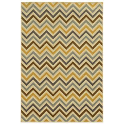 Oriental Weavers Riviera Chevron 8-Foot 6-Inch x 13-Foot Indoor/Outdoor Rug in Grey/Gold