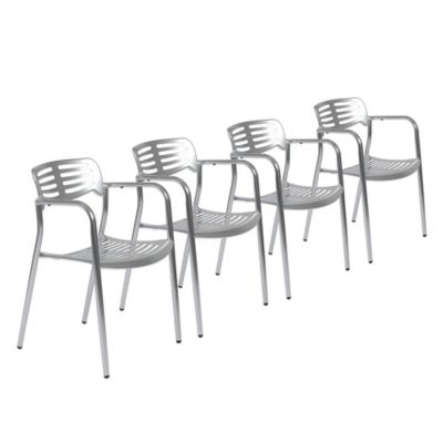 Eurostyle Helen Arm Chair in Shiny Aluminum (Set of 4)