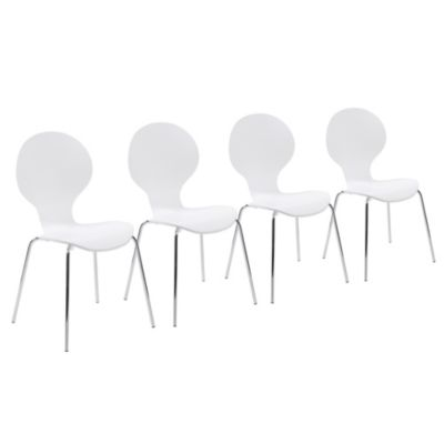 Eurostyle Bunny Stack Chair in White/Chrome (Set of 4)