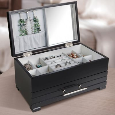 Loft Living Wooden Jewelry Box with Mirror