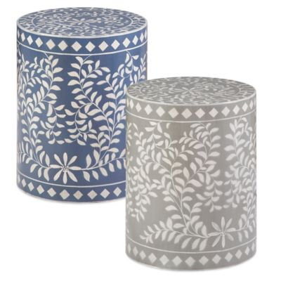 Madison Park Mosaic Drum Table in Blue