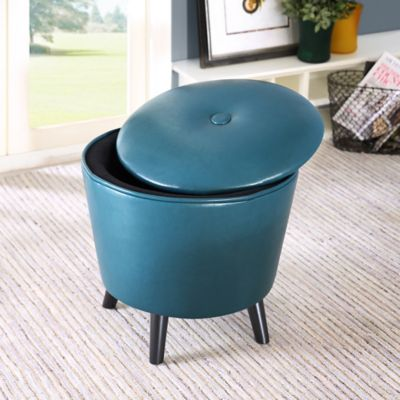 Madison Park Crosby Ottoman in Peacock