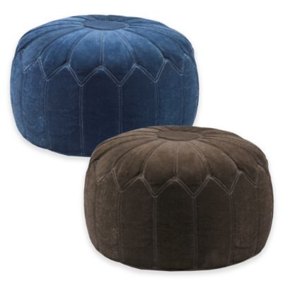 Madison Park Round Pouf Ottoman in Brown