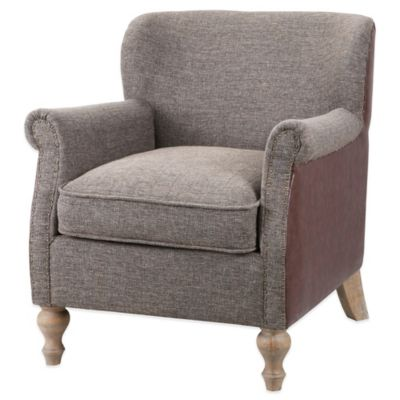 Madison Park Turned Leg Club Chair in Grey/Chocolate
