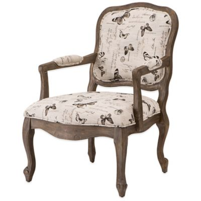 Madison Park Camel Back Wood Arm Chair in Cream Multi