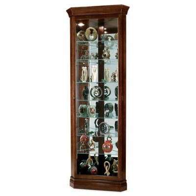 Howard Miller Drake Corner Curio in Cherry Bordeaux