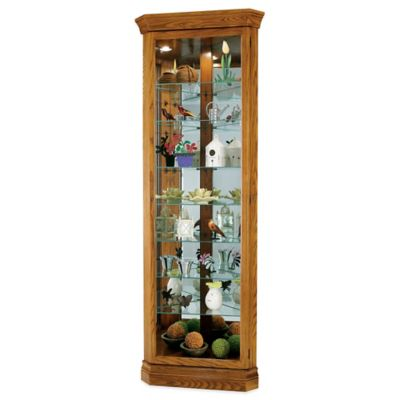 Howard Miller Dominic Corner Curio in Legacy Oak