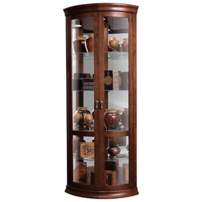 Howard Miller Chancellor Corner Curio in Hampton Cherry