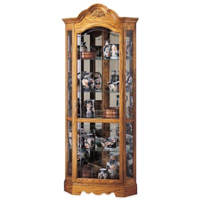 Howard Miller Wilshire Curio Cabinet in Golden Oak