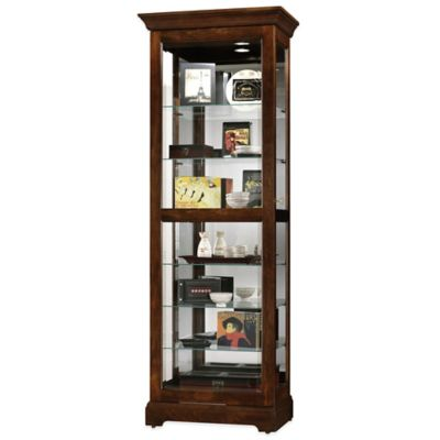 Howard Miller Martindale Sliding Door Curio in Cherry Bordeaux