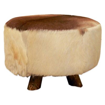 Jeffan Round Natural Hide Ottoman in Beige/Brown
