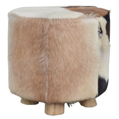 Jeffan Round Natural Hide Tall Ottoman in White/Brown