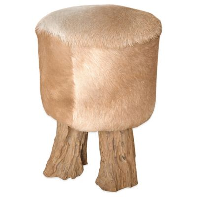 Jeffan Round Natural Hide Stool in Tan