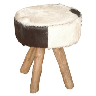 Jeffan Round Natural Hide Stool in Black/White