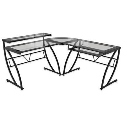 Z-Line Designs Feliz L-Shaped Glass Desk in Black