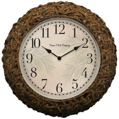 Geneva Woven Rattan Wall Clock in Brown