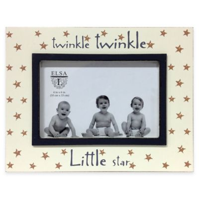 "Elsa L Baby Classics 4-Inch x 6-Inch ""Twinkle, Twinkle Little Star"" Picture Frame in Ivory/Grey"