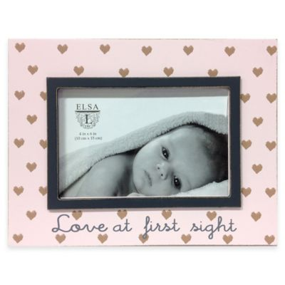 "Elsa L Baby Classics 4-Inch x 6-Inch ""Love at First Sight"" Picture Frame in Pink/Grey"