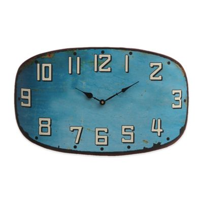 Oval Metal Clock in Turquoise