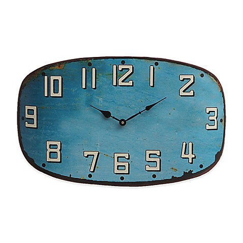 Oval Metal Clock In Turquoise Bed Bath Amp Beyond