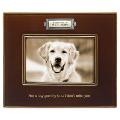 "Grasslands Road® 4-Inch x 6-Inch ""Paw Prints on My Heart"" Photo Frame in Brown"