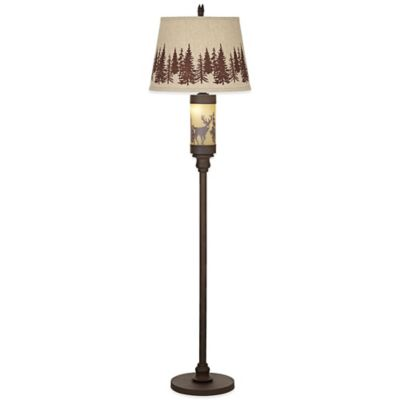 Pacific Coast®; Lighting White Tail Deer Floor Lamp in Rust with Burlap Shade