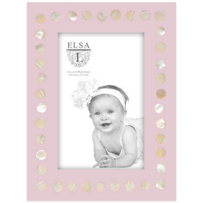 Elsa L Baby Classics 4-Inch x 6-Inch Mother of Pearl Picture Frame in Pink