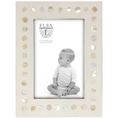 Elsa L Baby Classics 4-Inch x 6-Inch Mother of Pearl Picture Frame in Ivory
