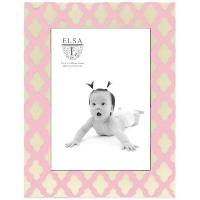 Elsa L Baby Classics 5-Inch x 7-Inch Scroll Picture Frame in Pink/Ivory