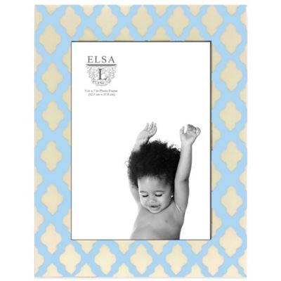 Elsa L Baby Classics 5-Inch x 7-Inch Scroll Picture Frame in Blue/Ivory