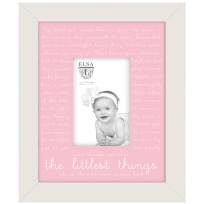 "Elsa L Baby Classics 4-Inch x 6-Inch ""The Littlest Things"" Frame in Pink"