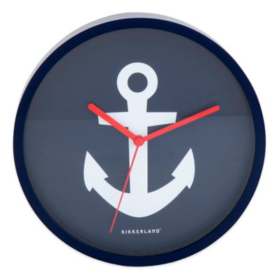 Kikkerland® Anchor Wall Clock in Navy/White