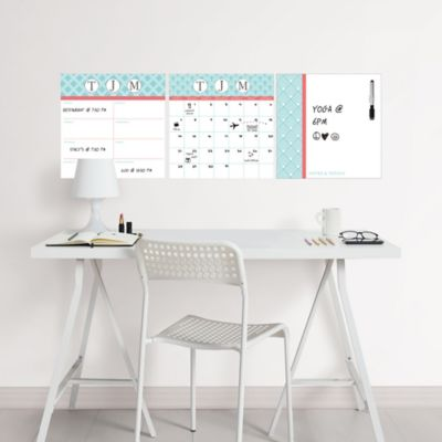 WallPOPS 3-Piece Peel + Stick Dry Erase Board Set with Monogram Kit in Teal/Coral