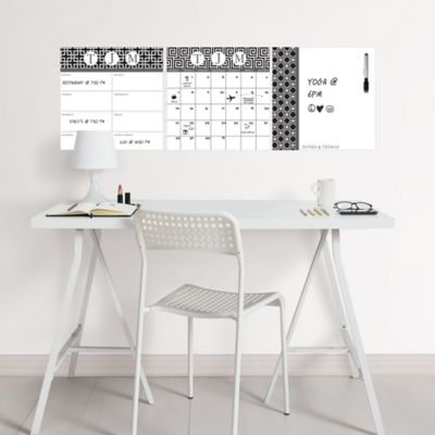WallPOPS 3-Piece Peel + Stick Dry Erase Board Set with Monogram Kit in Black/White